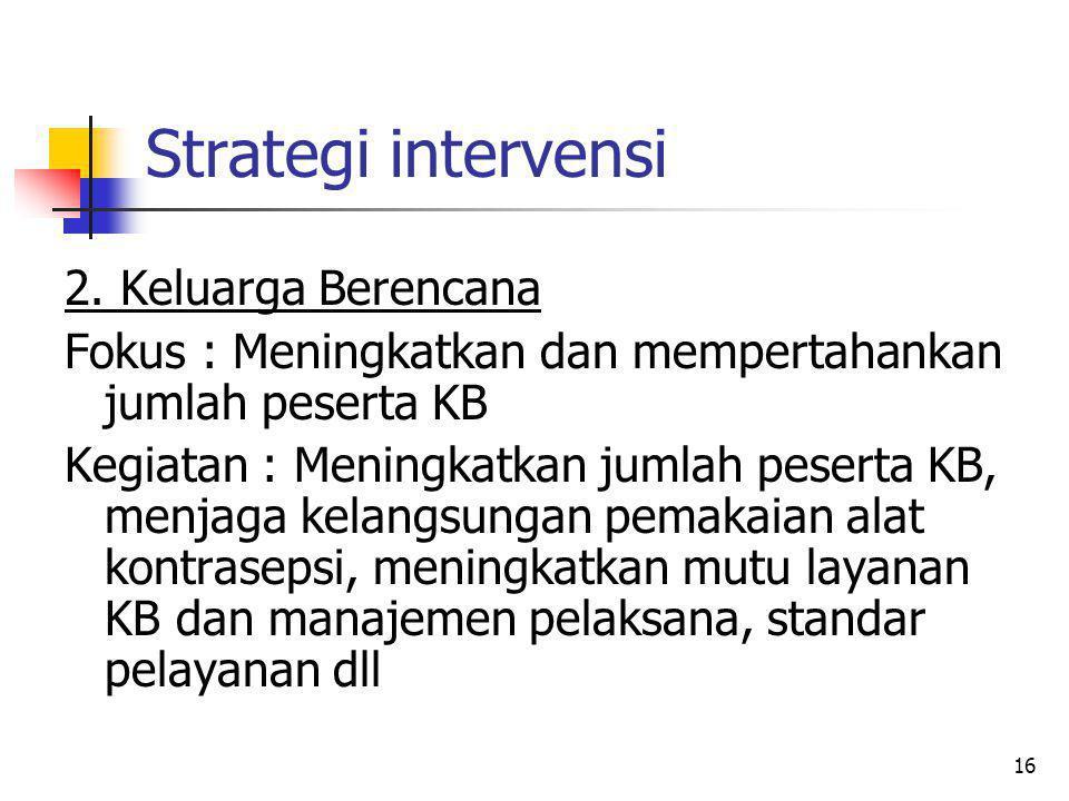 16 Strategi intervensi 2. Keluarga Berencana Fokus : Meningkatkan dan mempertahankan jumlah peserta KB Kegiatan : Meningkatkan jumlah peserta KB, menj