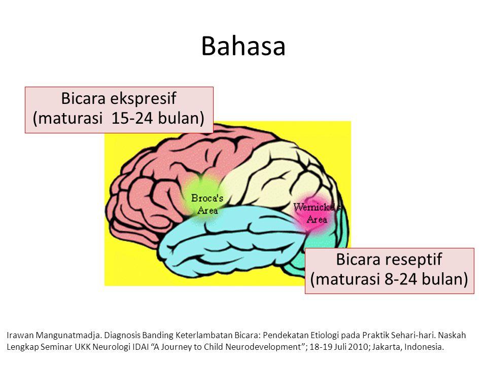Bahasa Bicara ekspresif (maturasi 15-24 bulan) Bicara reseptif (maturasi 8-24 bulan) Irawan Mangunatmadja.