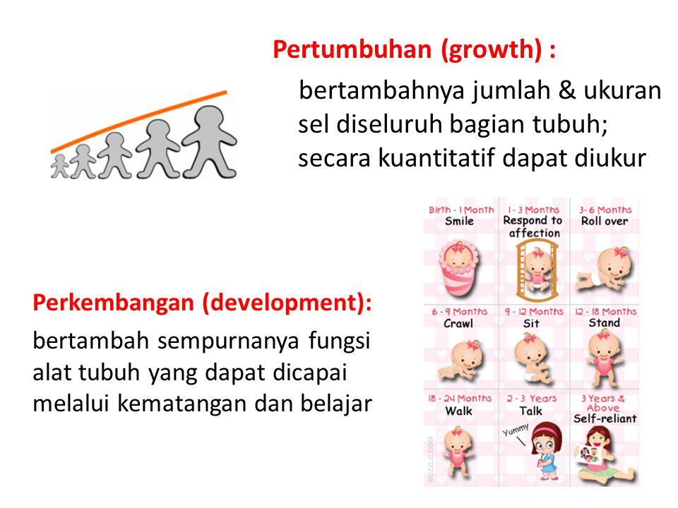 Pertumbuhan (growth) : bertambahnya jumlah & ukuran sel diseluruh bagian tubuh; secara kuantitatif dapat diukur Perkembangan (development): bertambah sempurnanya fungsi alat tubuh yang dapat dicapai melalui kematangan dan belajar