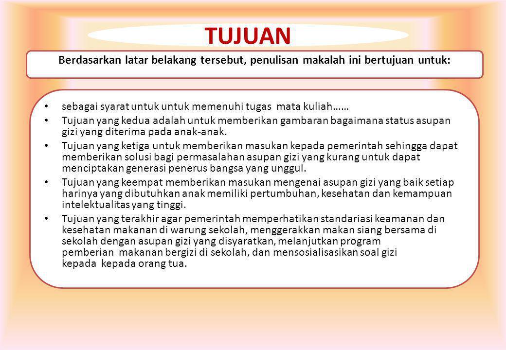 Saptawati Bardosono, seorang Ahli Gizi dari Universitas Indonesia, menjelaskan dari penelitian terhadap 220 anak sekolah di lima SD di Jakarta, asupan