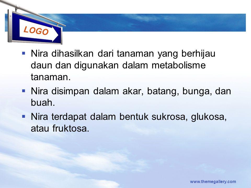 LOGO  Nira dihasilkan dari tanaman yang berhijau daun dan digunakan dalam metabolisme tanaman.  Nira disimpan dalam akar, batang, bunga, dan buah. 