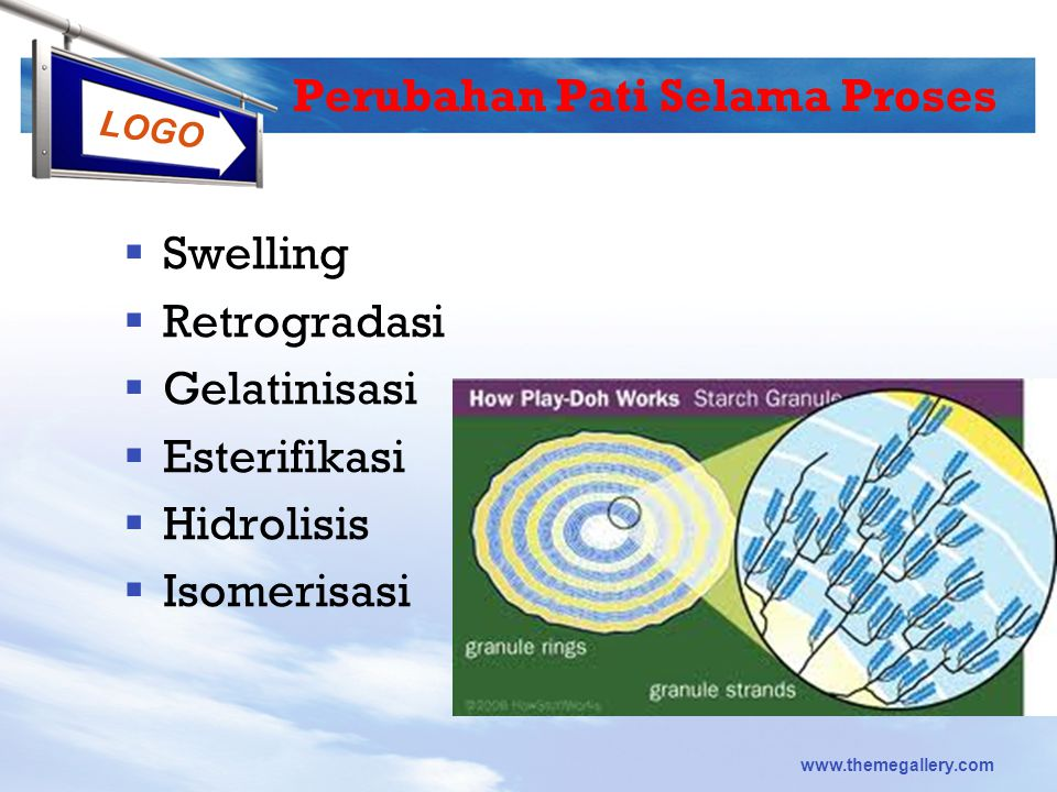 LOGO www.themegallery.com Perubahan Pati Selama Proses  Swelling  Retrogradasi  Gelatinisasi  Esterifikasi  Hidrolisis  Isomerisasi