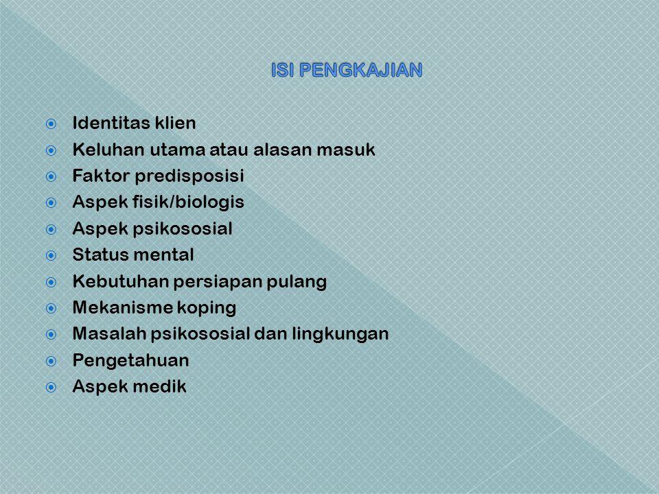  Identitas klien  Keluhan utama atau alasan masuk  Faktor predisposisi  Aspek fisik/biologis  Aspek psikososial  Status mental  Kebutuhan persiapan pulang  Mekanisme koping  Masalah psikososial dan lingkungan  Pengetahuan  Aspek medik