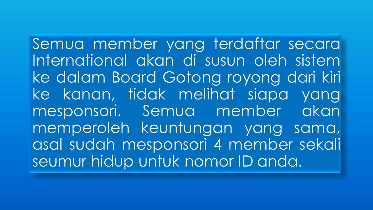 Semua member yang terdaftar secara International akan di susun oleh sistem ke dalam Board Gotong royong dari kiri ke kanan, tidak melihat siapa yang m