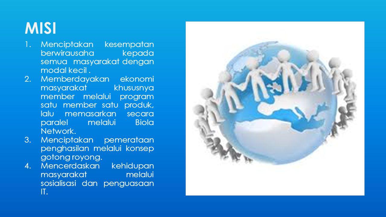 MISI 1.Menciptakan kesempatan berwirausaha kepada semua masyarakat dengan modal kecil. 2.Memberdayakan ekonomi masyarakat khususnya member melalui pro