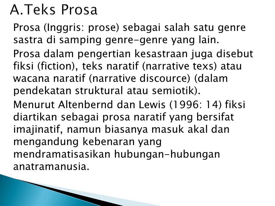 Prosa (Inggris: prose) sebagai salah satu genre sastra di samping genre-genre yang lain. Prosa dalam pengertian kesastraan juga disebut fiksi (fiction