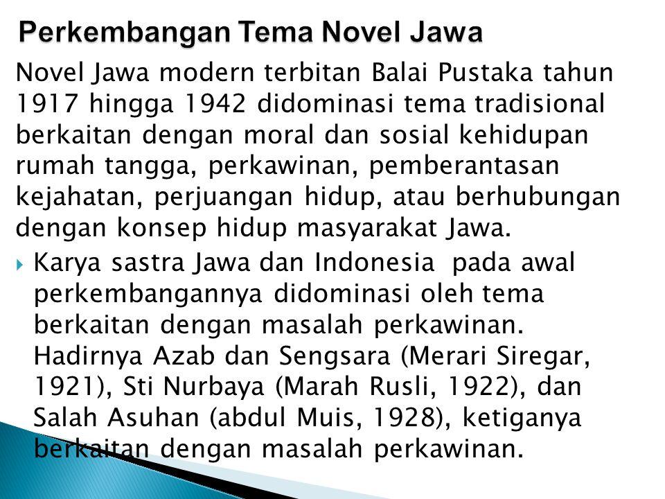 Novel Jawa modern terbitan Balai Pustaka tahun 1917 hingga 1942 didominasi tema tradisional berkaitan dengan moral dan sosial kehidupan rumah tangga,