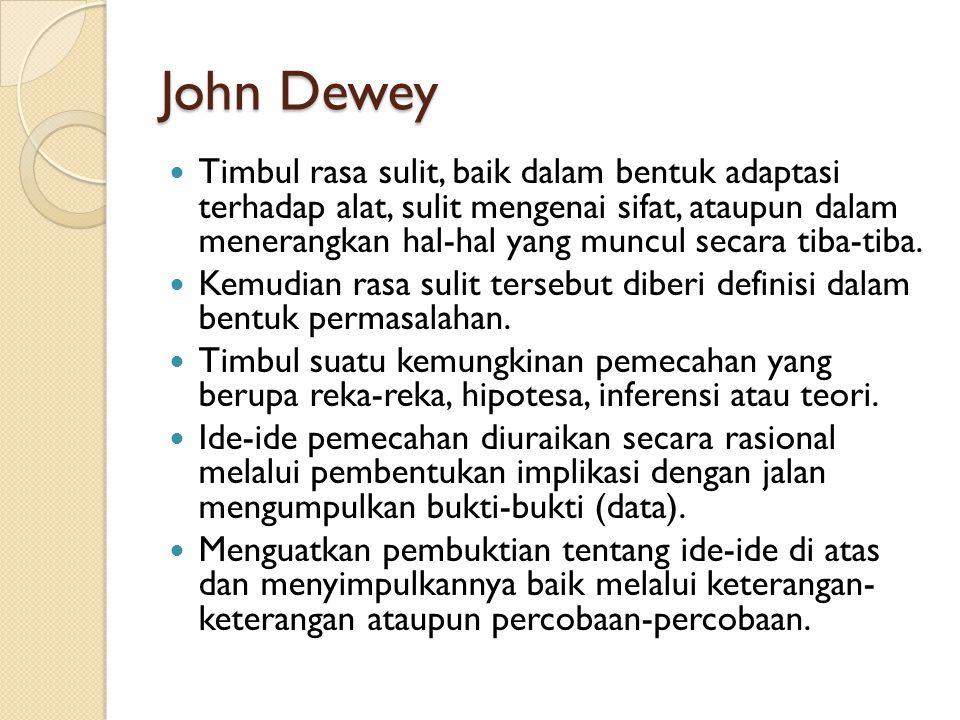 John Dewey Timbul rasa sulit, baik dalam bentuk adaptasi terhadap alat, sulit mengenai sifat, ataupun dalam menerangkan hal-hal yang muncul secara tib