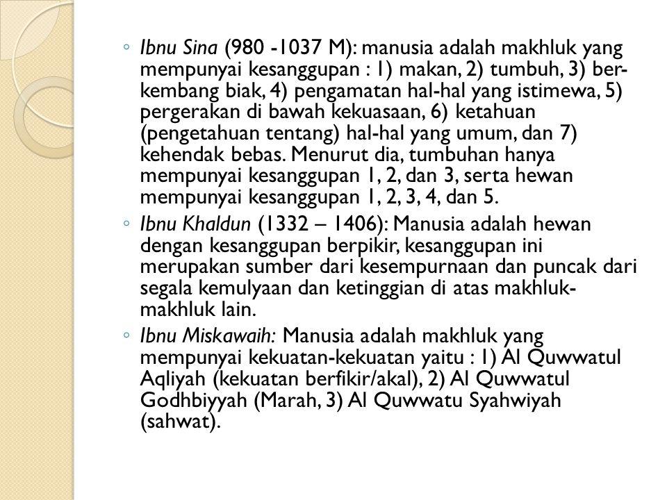 ◦ Ibnu Sina (980 -1037 M): manusia adalah makhluk yang mempunyai kesanggupan : 1) makan, 2) tumbuh, 3) ber- kembang biak, 4) pengamatan hal-hal yang i