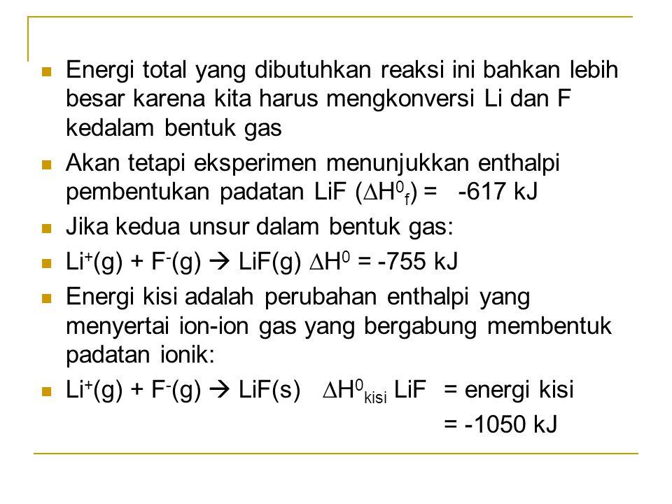 Energi total yang dibutuhkan reaksi ini bahkan lebih besar karena kita harus mengkonversi Li dan F kedalam bentuk gas Akan tetapi eksperimen menunjukk