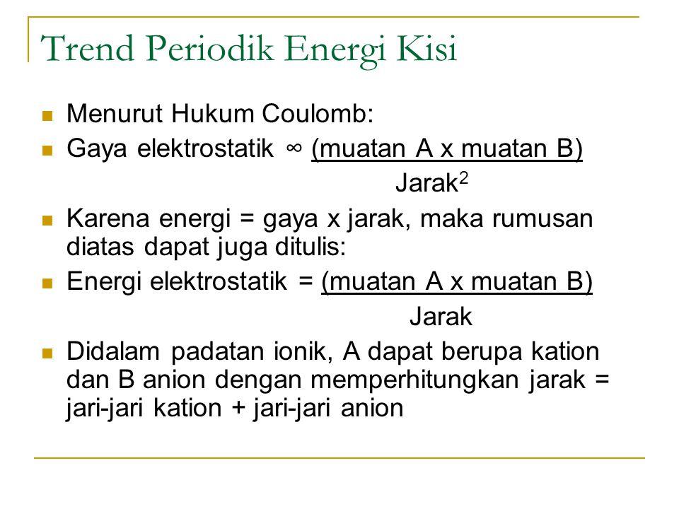 Trend Periodik Energi Kisi Menurut Hukum Coulomb: Gaya elektrostatik ∞ (muatan A x muatan B) Jarak 2 Karena energi = gaya x jarak, maka rumusan diatas