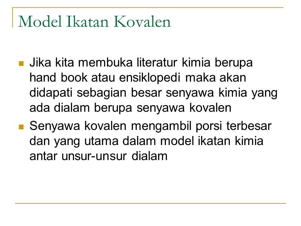 Model Ikatan Kovalen Jika kita membuka literatur kimia berupa hand book atau ensiklopedi maka akan didapati sebagian besar senyawa kimia yang ada dial