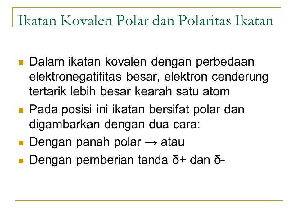 Ikatan Kovalen Polar dan Polaritas Ikatan Dalam ikatan kovalen dengan perbedaan elektronegatifitas besar, elektron cenderung tertarik lebih besar kear