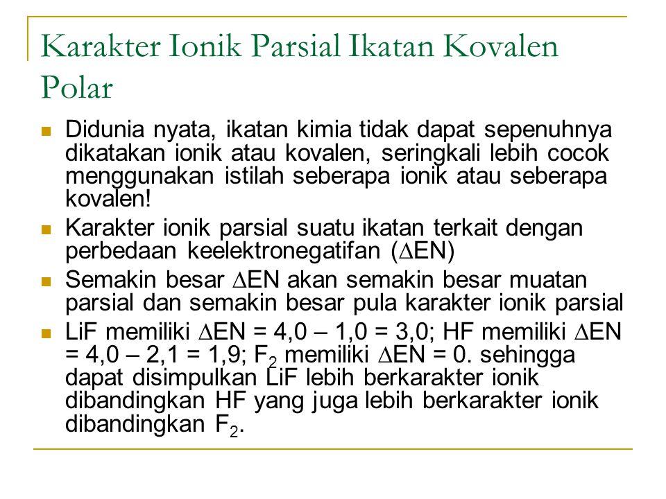Karakter Ionik Parsial Ikatan Kovalen Polar Didunia nyata, ikatan kimia tidak dapat sepenuhnya dikatakan ionik atau kovalen, seringkali lebih cocok me