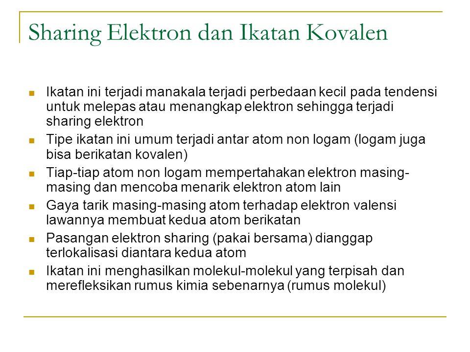 Sharing Elektron dan Ikatan Kovalen Ikatan ini terjadi manakala terjadi perbedaan kecil pada tendensi untuk melepas atau menangkap elektron sehingga t