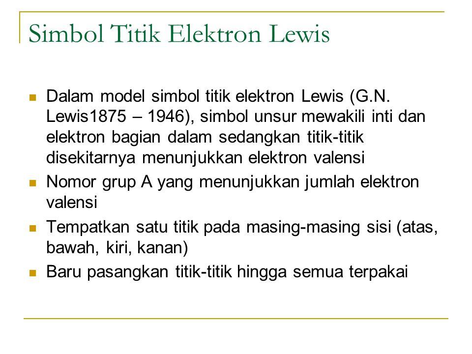 Simbol Titik Elektron Lewis Dalam model simbol titik elektron Lewis (G.N. Lewis1875 – 1946), simbol unsur mewakili inti dan elektron bagian dalam seda