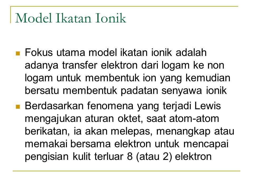 Model Ikatan Ionik Fokus utama model ikatan ionik adalah adanya transfer elektron dari logam ke non logam untuk membentuk ion yang kemudian bersatu me