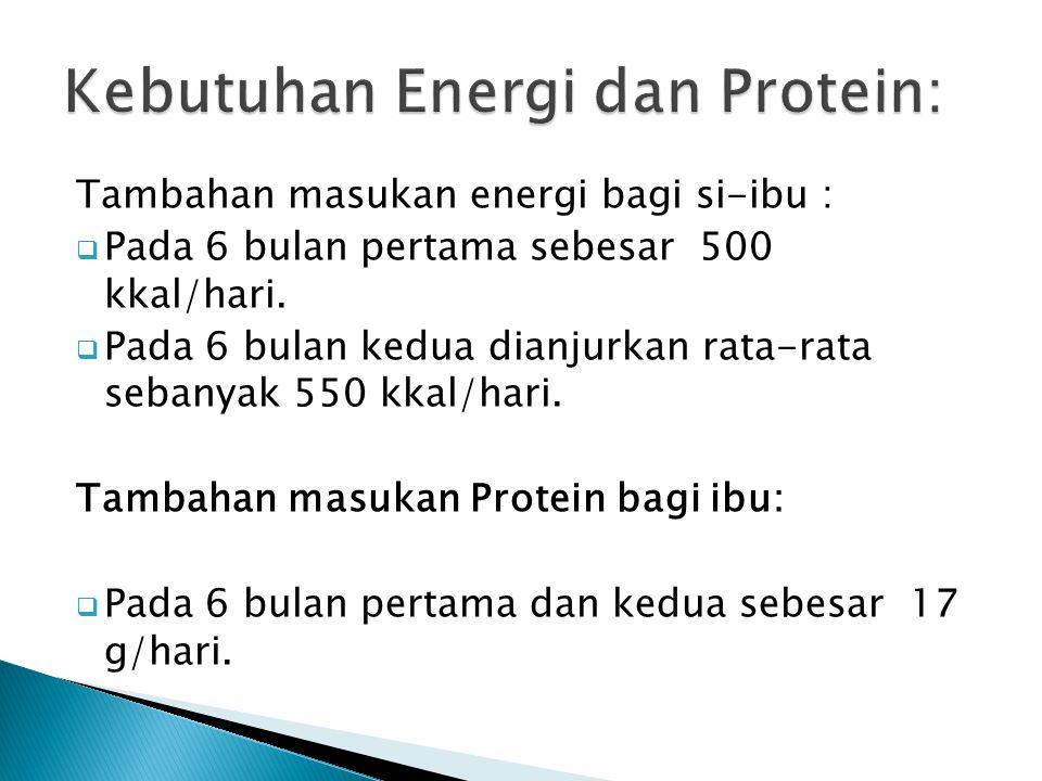 Tambahan masukan energi bagi si-ibu :  Pada 6 bulan pertama sebesar 500 kkal/hari.  Pada 6 bulan kedua dianjurkan rata-rata sebanyak 550 kkal/hari.