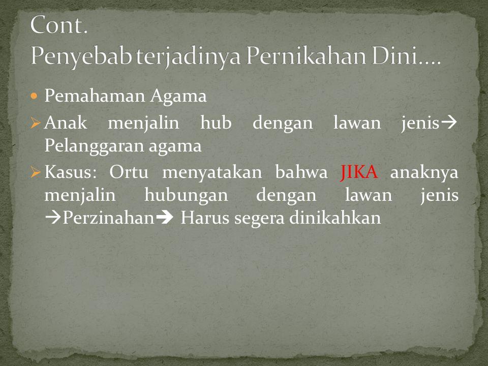 Pemahaman Agama  Anak menjalin hub dengan lawan jenis  Pelanggaran agama  Kasus: Ortu menyatakan bahwa JIKA anaknya menjalin hubungan dengan lawan