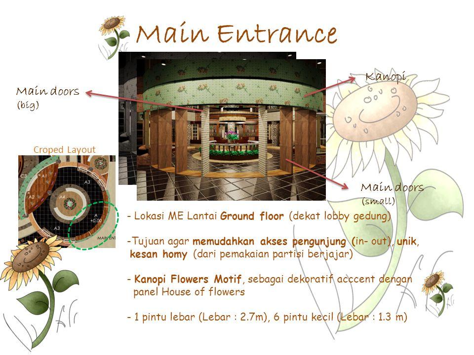Main Entrance Croped Layout - Lokasi ME Lantai Ground floor (dekat lobby gedung) -Tujuan agar memudahkan akses pengunjung (in- out), unik, kesan homy