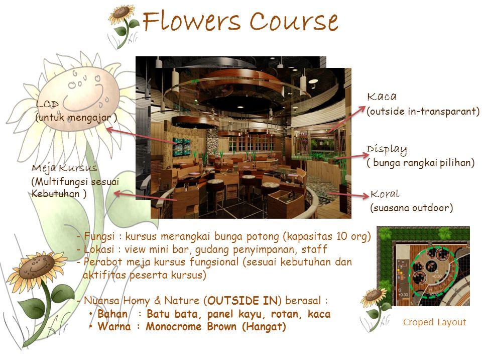 Flowers Course Croped Layout - Fungsi : kursus merangkai bunga potong (kapasitas 10 org) - Lokasi : view mini bar, gudang penyimpanan, staff - Perabot
