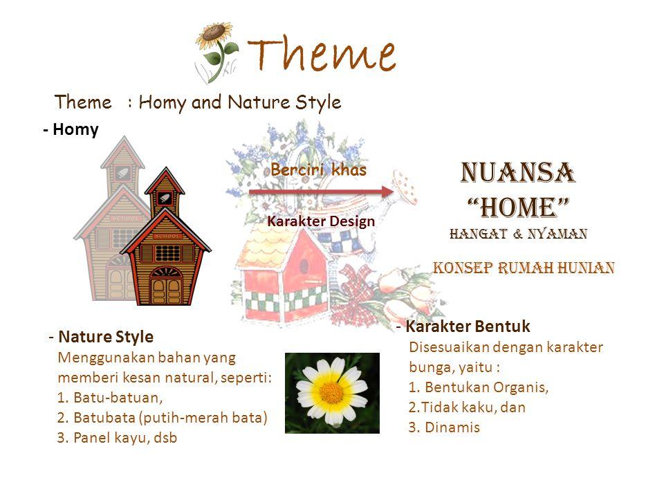 "Theme Theme : Homy and Nature Style Berciri khas Karakter Design NUANSA ""HOME"" Hangat & Nyaman - Homy - Karakter Bentuk Disesuaikan dengan karakter bu"