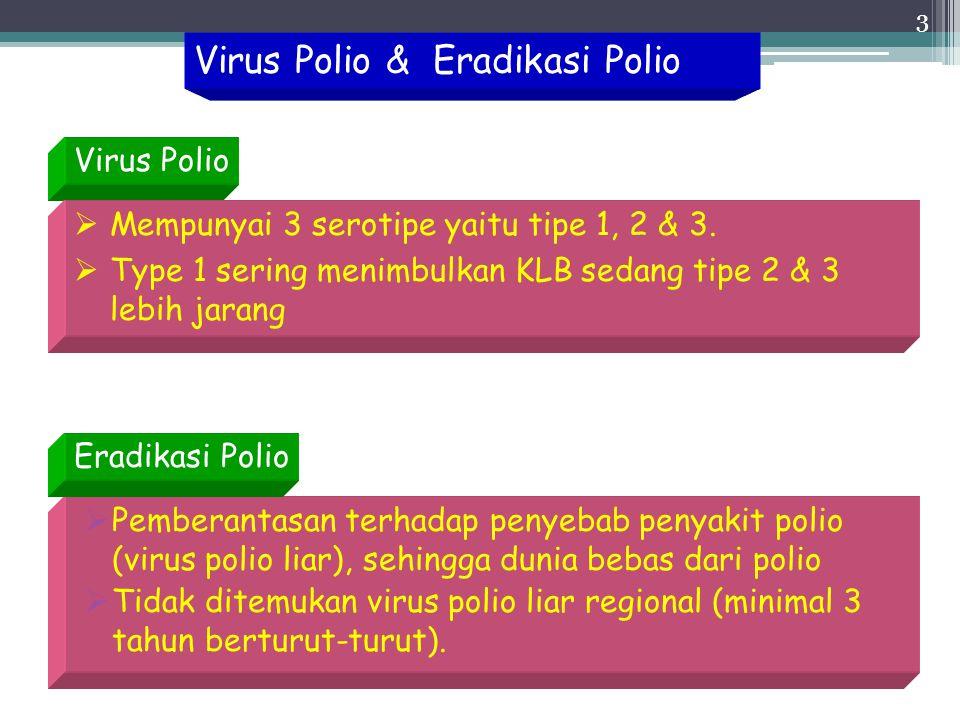 3 Virus Polio & Eradikasi Polio  Pemberantasan terhadap penyebab penyakit polio (virus polio liar), sehingga dunia bebas dari polio  Tidak ditemukan