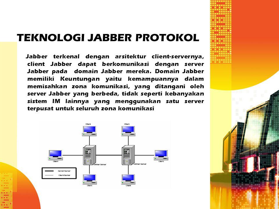 TEKNOLOGI JABBER PROTOKOL Jabber terkenal dengan arsitektur client-servernya, client Jabber dapat berkomunikasi dengan server Jabber pada domain Jabbe