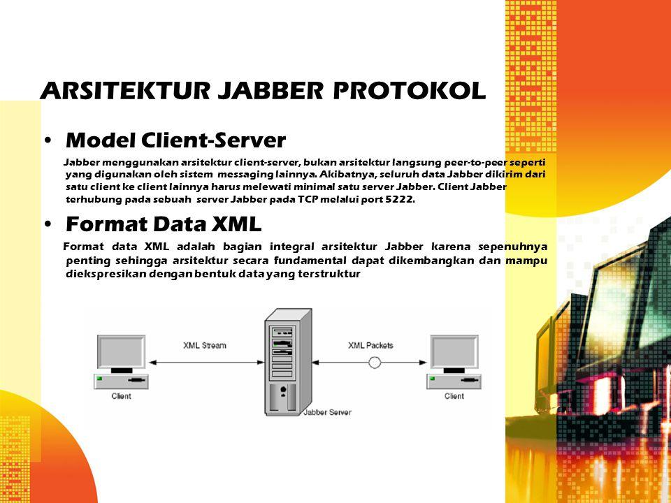 ARSITEKTUR JABBER PROTOKOL Model Client-Server Jabber menggunakan arsitektur client-server, bukan arsitektur langsung peer-to-peer seperti yang diguna