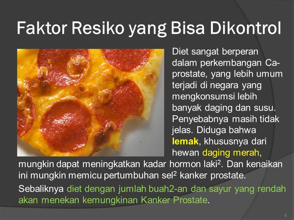 Faktor Resiko yang Bisa Dikontrol Diet sangat berperan dalam perkembangan Ca- prostate, yang lebih umum terjadi di negara yang mengkonsumsi lebih banyak daging dan susu.