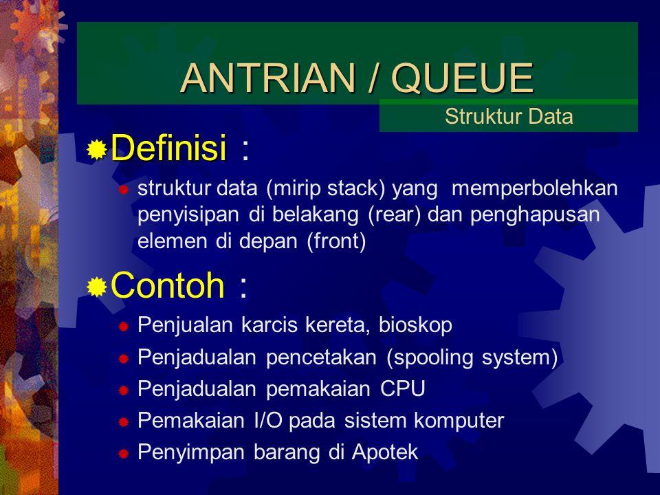 ANTRIAN / QUEUE  Definisi  Definisi :  struktur data (mirip stack) yang memperbolehkan penyisipan di belakang (rear) dan penghapusan elemen di depan (front)  Contoh :  Penjualan karcis kereta, bioskop  Penjadualan pencetakan (spooling system)  Penjadualan pemakaian CPU  Pemakaian I/O pada sistem komputer  Penyimpan barang di Apotek Struktur Data