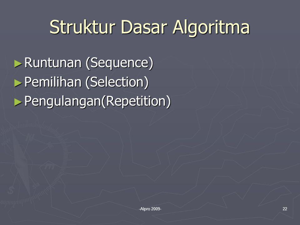 -Alpro 2009-22 Struktur Dasar Algoritma ► Runtunan (Sequence) ► Pemilihan (Selection) ► Pengulangan(Repetition)