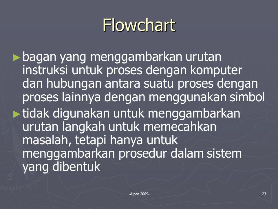 -Alpro 2009-23 Flowchart ► ► bagan yang menggambarkan urutan instruksi untuk proses dengan komputer dan hubungan antara suatu proses dengan proses lai