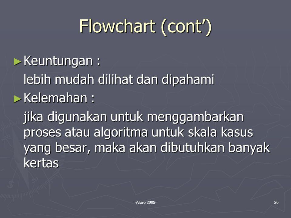 -Alpro 2009-26 Flowchart (cont') ► Keuntungan : lebih mudah dilihat dan dipahami ► Kelemahan : jika digunakan untuk menggambarkan proses atau algoritm