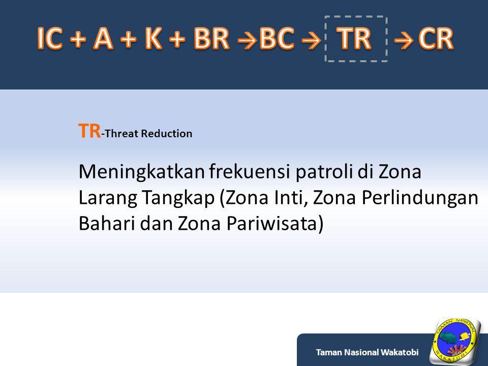 TR -Threat Reduction Meningkatkan frekuensi patroli di Zona Larang Tangkap (Zona Inti, Zona Perlindungan Bahari dan Zona Pariwisata) Taman Nasional Wakatobi