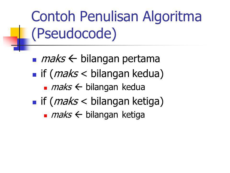 Contoh Penulisan Algoritma (Pseudocode) maks  bilangan pertama if (maks < bilangan kedua) maks  bilangan kedua if (maks < bilangan ketiga) maks  bi