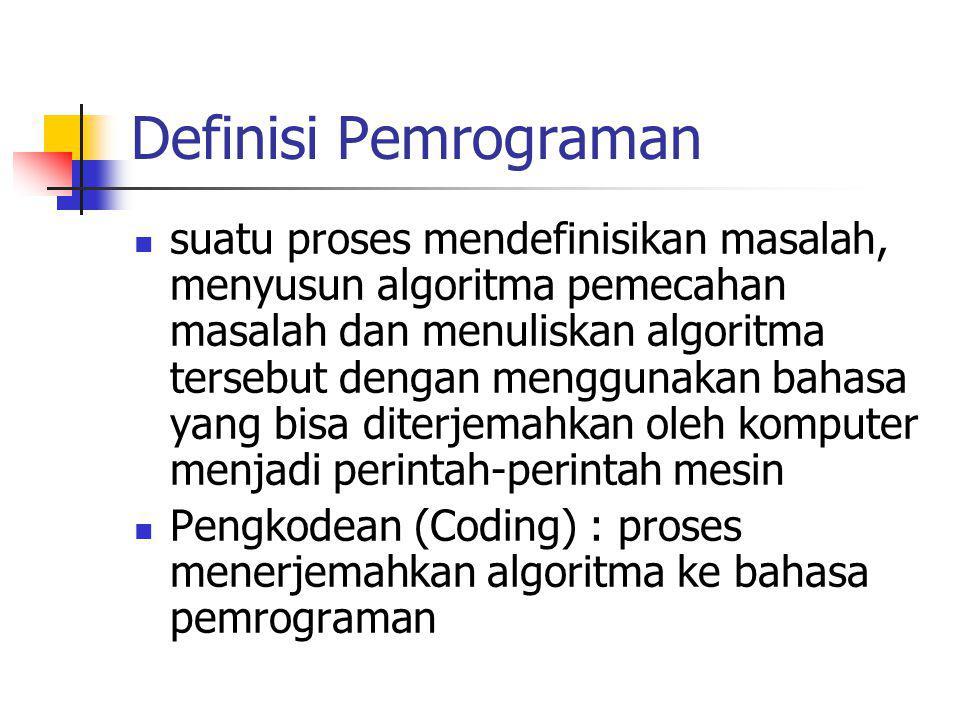 Definisi Pemrograman suatu proses mendefinisikan masalah, menyusun algoritma pemecahan masalah dan menuliskan algoritma tersebut dengan menggunakan ba