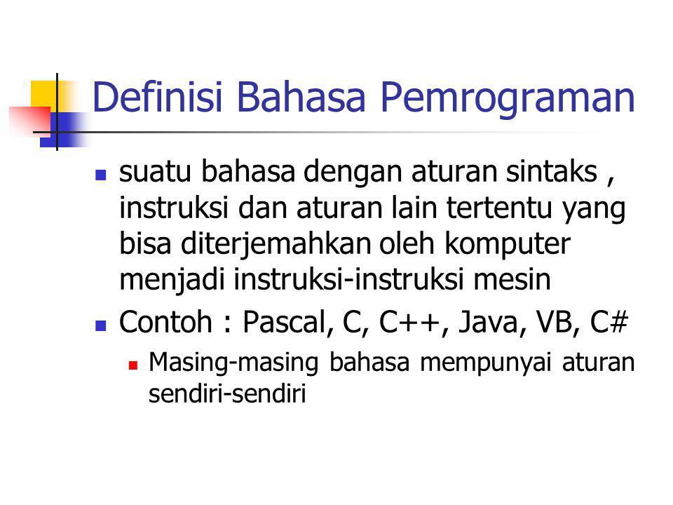 Definisi Bahasa Pemrograman suatu bahasa dengan aturan sintaks, instruksi dan aturan lain tertentu yang bisa diterjemahkan oleh komputer menjadi instr