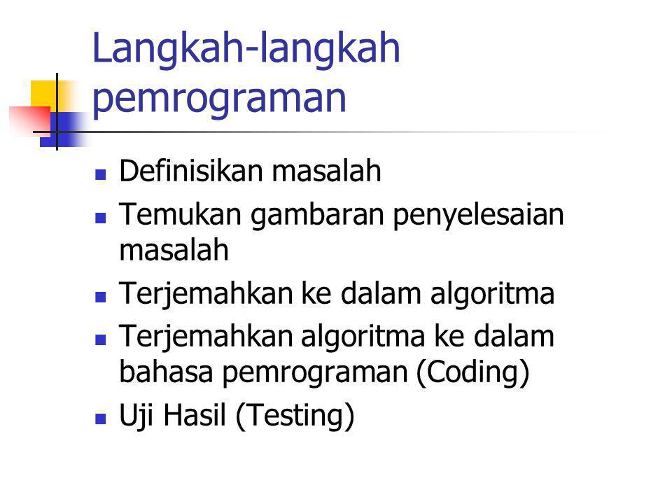 Langkah-langkah pemrograman Definisikan masalah Temukan gambaran penyelesaian masalah Terjemahkan ke dalam algoritma Terjemahkan algoritma ke dalam ba