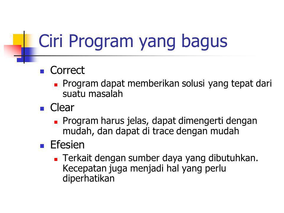 Ciri Program yang bagus Correct Program dapat memberikan solusi yang tepat dari suatu masalah Clear Program harus jelas, dapat dimengerti dengan mudah