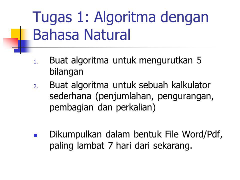 Tugas 1: Algoritma dengan Bahasa Natural 1. Buat algoritma untuk mengurutkan 5 bilangan 2. Buat algoritma untuk sebuah kalkulator sederhana (penjumlah