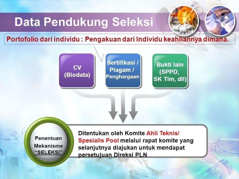 Data Pendukung Seleksi CV (Biodata) Sertifikasi / Piagam / Penghargaan Bukti lain (SPPD, SK Tim, dll) Ditentukan oleh Komite Ahli Teknis/ Spesialis Po