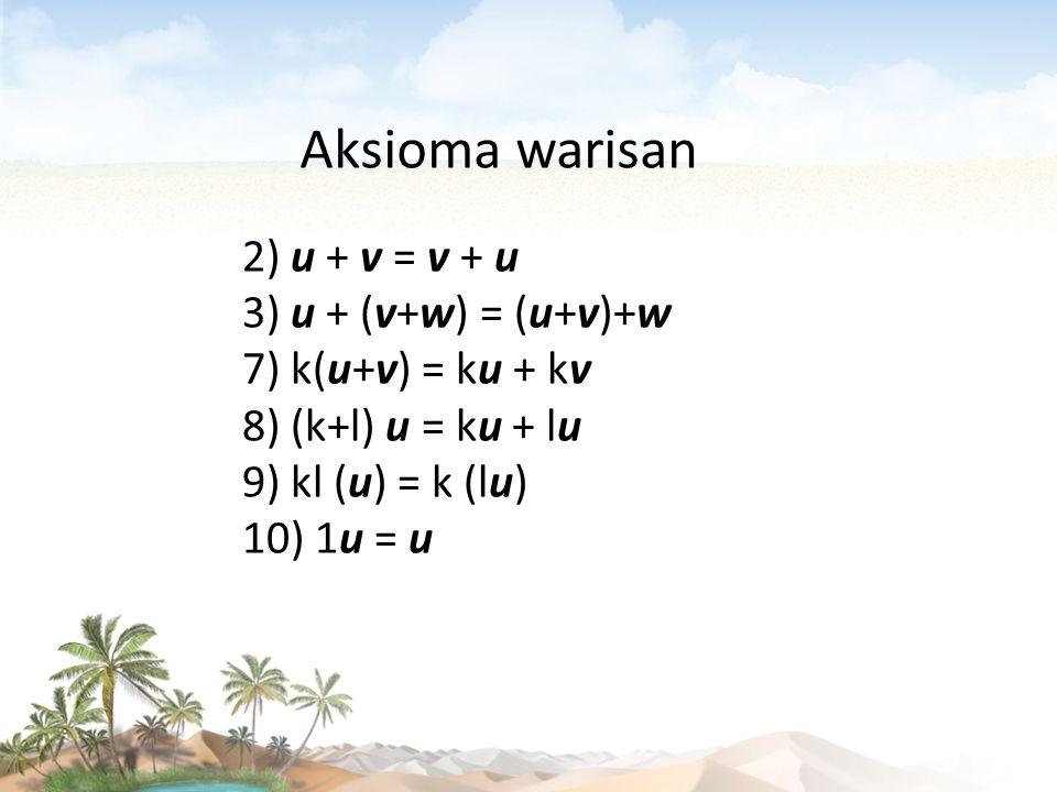 2) u + v = v + u 3) u + (v+w) = (u+v)+w 7) k(u+v) = ku + kv 8) (k+l) u = ku + lu 9) kl (u) = k (lu) 10) 1u = u Aksioma warisan