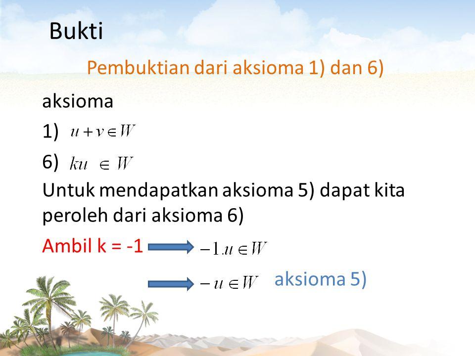 aksioma 1) Untuk mendapatkan aksioma 4) dapat kita peroleh dari aksioma 1) atau aksioma 6) Ambil v = -u aksioma 4) aksioma 6) Ambil k = 0