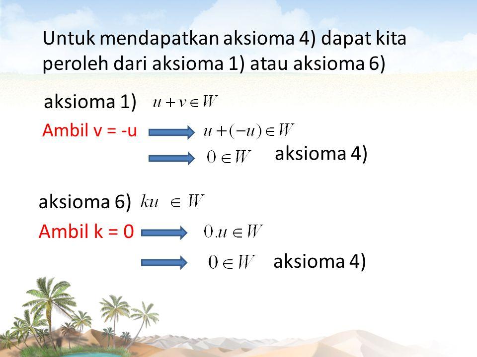Contoh Soal Misalkan: u dan v adalah vector-vektor sembarang pada W,dan W adalah bidang sembarangyang melewati titik asal.