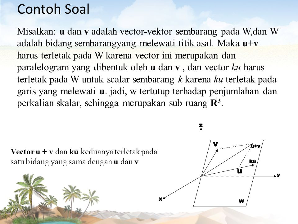 Contoh Soal Misalkan: u dan v adalah vector-vektor sembarang pada W,dan W adalah bidang sembarangyang melewati titik asal. Maka u+v harus terletak pad