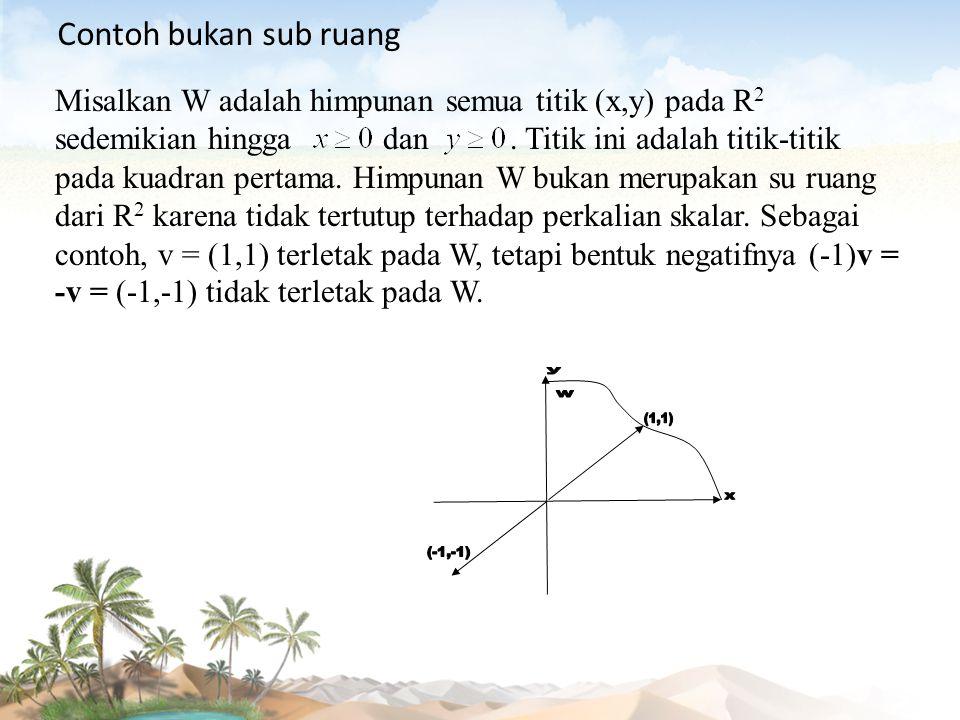 Misalkan W adalah himpunan semua titik (x,y) pada R 2 sedemikian hingga dan. Titik ini adalah titik-titik pada kuadran pertama. Himpunan W bukan merup