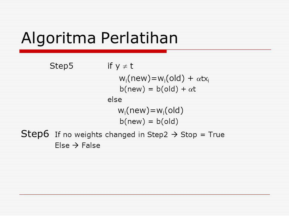 Algoritma Perlatihan Step5if y  t w i (new)=w i (old) + tx i b(new) = b(old) + t else w i (new)=w i (old) b(new) = b(old) Step6 If no weights chang