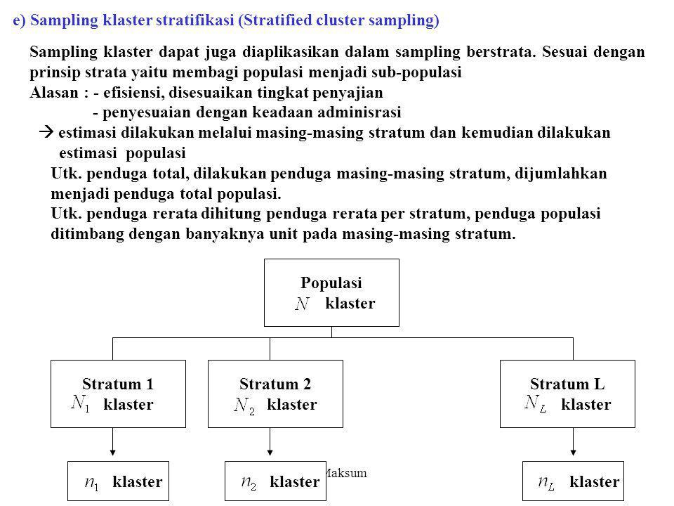 C.Maksum Sampling klaster dapat juga diaplikasikan dalam sampling berstrata. Sesuai dengan prinsip strata yaitu membagi populasi menjadi sub-populasi