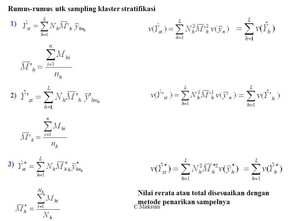 C.Maksum 1) 2) 3) Rumus-rumus utk sampling klaster stratifikasi Nilai rerata atau total disesuaikan dengan metode penarikan sampelnya